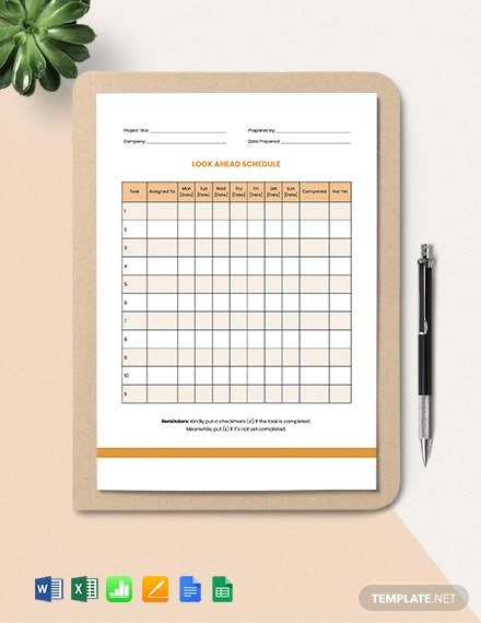 Look Ahead Schedule Template