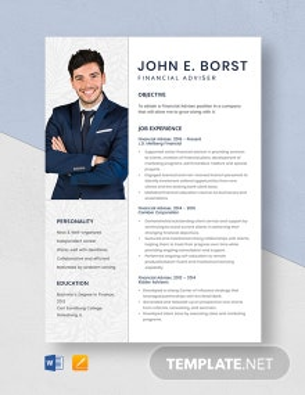 Financial Adviser Resume Template