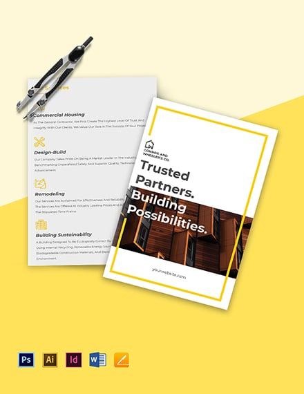 Commercial Construction Bi-Fold Brochure Template