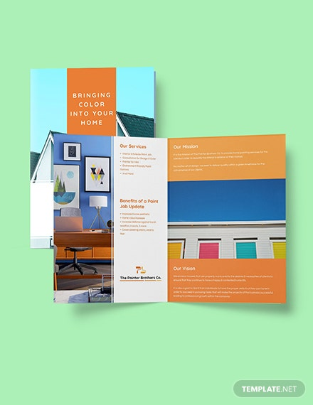 House Painting Contractor Brochure Bifold template Format