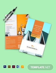 House Painting Contractor Bi-Fold Brochure Template