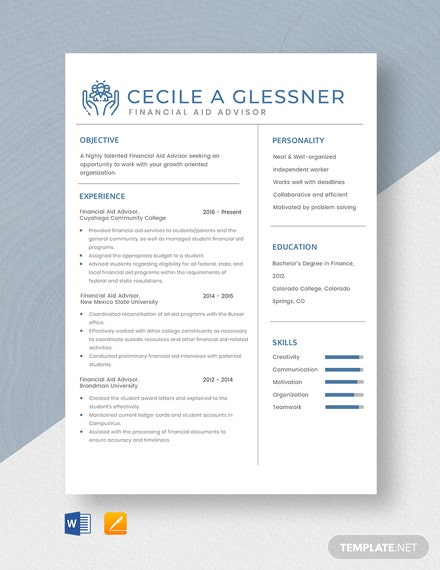 Financial Aid Advisor Resume Template - Word | Pages ...