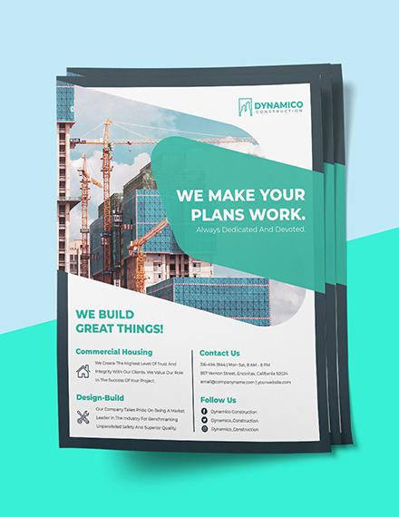 Construction Company Flyer Printable