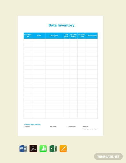 Free Data Inventory Template