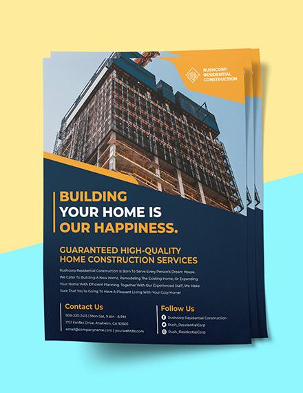 House Construction flyer Printable