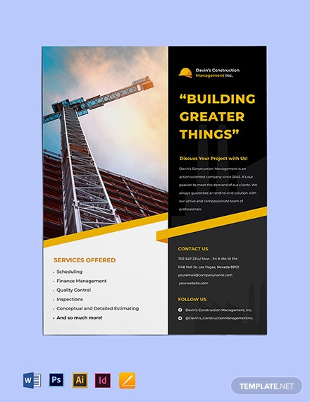 Construction Management Flyer Template