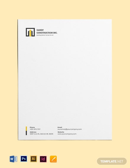 Home Builders Letterhead Template