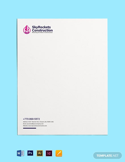 Commercial Construction Letterhead Template