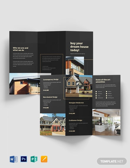 Property Marketing Tri-Fold Brochure Template