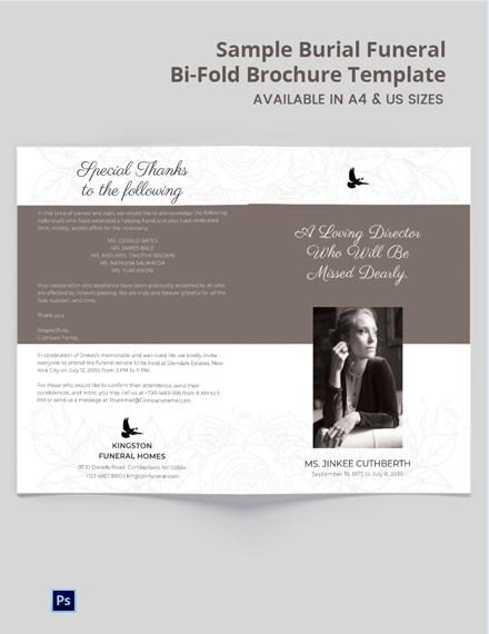 Free Sample Burial Funeral Bi-Fold Brochure Template