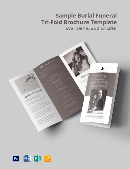 Free Sample Burial Funeral Tri-Fold Brochure Template