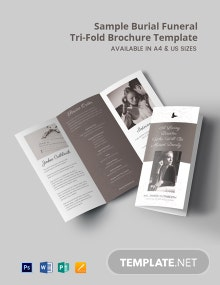 Free Sample Burial Funeral Tri-Fold Brochure Template