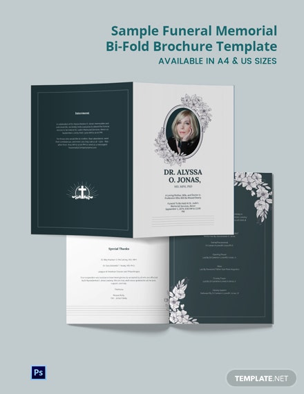 Free Sample Funeral Memorial Bi-Fold Brochure Template