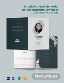 Free Sample Funeral Memorial Bi-Fold Brochure Template