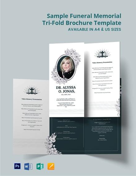 Free Sample Funeral Memorial Tri-Fold Brochure Template