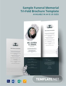 Free Sample Funeral Memorial Tri-Fold Brochure Template