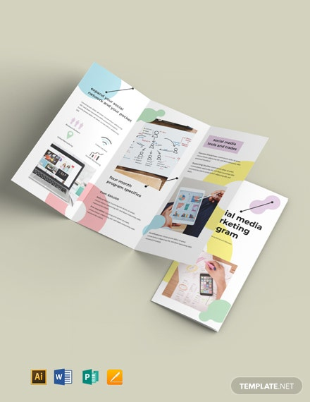 Social Media Marketing TriFold Brochure Template