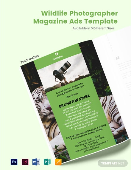 Free Wildlife Photographer Magazine Ads Template