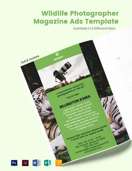 Free Wildlife Photographer Magazine Ads Template
