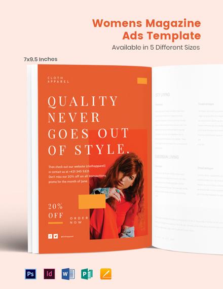 Free Women's Magazine Ads Template