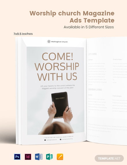 Free Worship Church Magazine Ads Template