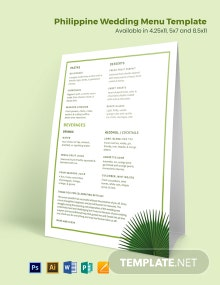 Philippine Wedding Menu Template