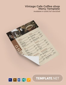 Free Vintage Cafe/ Coffee Shop Menu Template