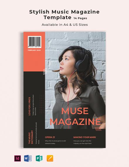 Stylish Music Magazine Template