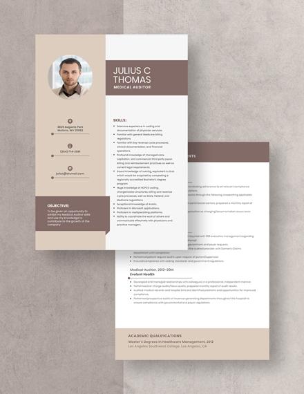 Medical Auditor Resume Download