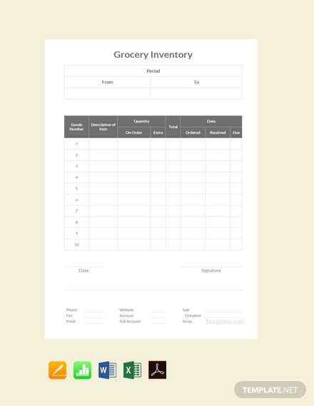 Free Grocery Inventory Template