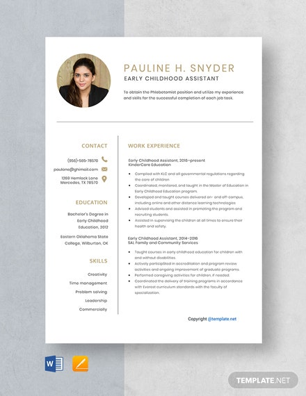 Free Early Childhood Assistant Resume Template