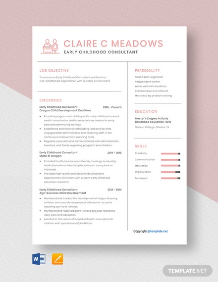 Free Early Childhood Consultant Resume Template