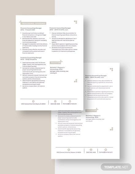 Financial Accounting Manager Resume Download