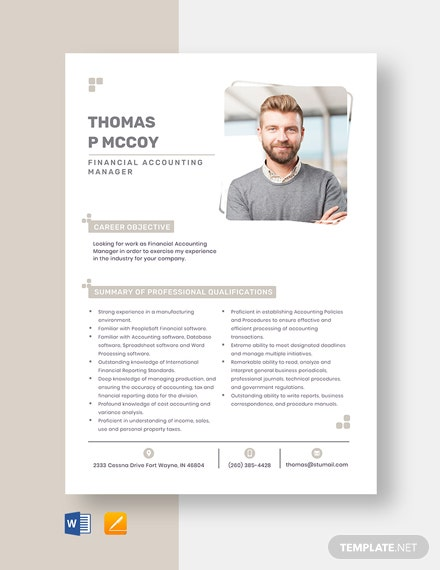 Financial Accounting Manager Resume
