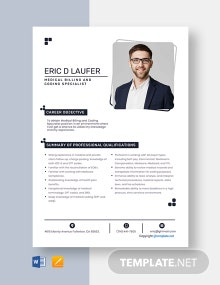 Free Medical Billing And Coding Specialist Resume Template