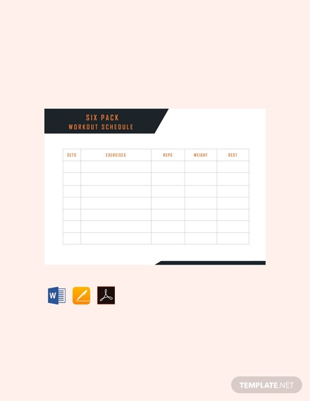 Free Six Pack Workout Schedule Template