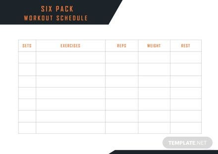 Six Pack Workout Schedule Template