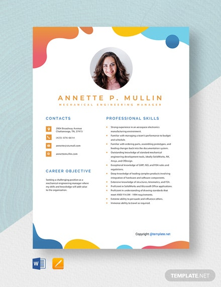 Free Mechanical Engineering Manager Resume Template
