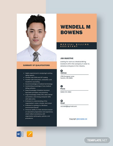 Free Medical Billing Assistant Resume Template