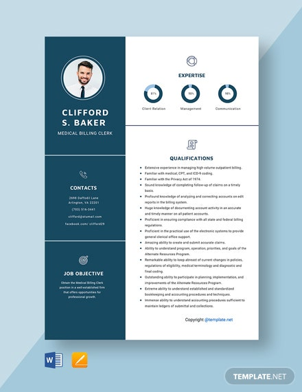 Free Medical Billing Clerk Resume Template