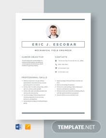 Mechanical Field Engineer Resume Template