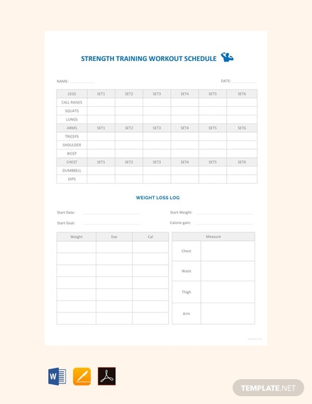Free Strength Training Workout Schedule Template