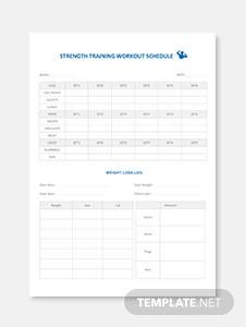 Strength Training Workout Schedule Template