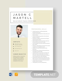 Government Sales Manager Resume Template