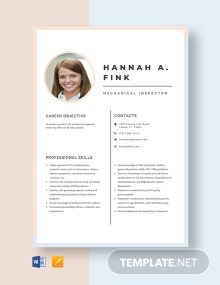 Mechanical Inspector Resume Template