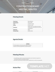 Construction Board Meeting Minutes Template