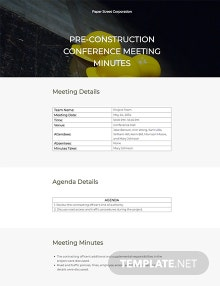 Construction Conference Meeting Minutes Template