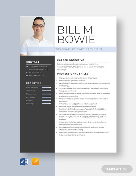 Graduate Research Assistant Resume
