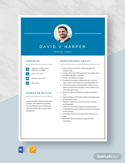 Medical Admin Resume Template