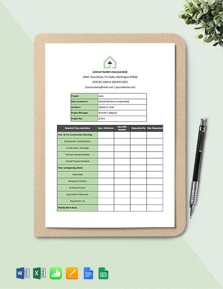 Construction Documentation Tracker Template